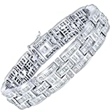 Men's Sterling Silver .925 Bracelet with 299 Channel set Fancy Princess and Elegant Round Cubic Zirconia (CZ) Stones, Box Lock, Platinum Plated. 8' 9'
