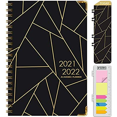 """14 Month Planner (June 2021 through July 2022) w/ MONTHLY TABS SIZE: 5.5"""" x 8"""" 2 Page Monthly Spreads followed by 2 Page Weekly Spreads EXTRA STRONG HARDCOVER & POCKET FOLDER on back inside cover **BONUS** Matching Bookmark/Page-Finder and **BONUS** ..."""