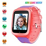 Kids Games Music Camera Smartwatch Phone for Girls Boys Birthday with SOS Call Alarm,1.54 inch Touch Screen Fits for 3-12 Children (RA18_Pink)