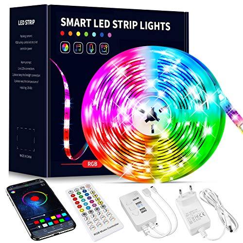 Beaeet Striscia LED 10 Metri,Strisce LED Colorati Dimmerabile con Controller Bluetooth Musica Sincronizza la Adatto per Interni, Camera da Letto, Decorazioni per Feste e per la Casa