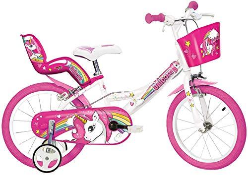 Dino Bikes 164R-UN, bicicletta con motivo unicorno, con ruote da 16', colori bianco e rosa