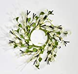 Worth Imports 4.25' Small Flower & Berry Set of 2 Candle Ring, White,Yellow,Green