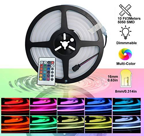 YXH DC12V Neon Led RGB Rope Light, flessibile/impermeabile/multicolore/telecomando per la casa/giardino/decorazione architettonica (10 FT / 3 metri, RGB)