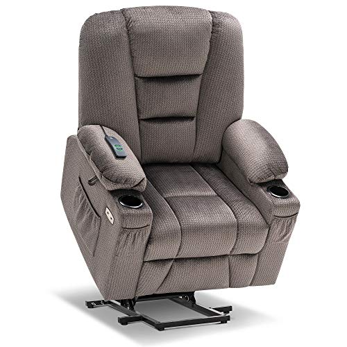 Mcombo Electric Power Lift Recliner Chair with Massage and Heat for Elderly, Extended Footrest, Hand Remote Control, Lumbar Pillow, Cup Holders, USB Ports, Fabric 7529 (Grey)