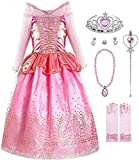 Okidokiyo Little Girls Princess Costume Halloween Party Dress Up (Long Sleeve with Accessories, 6-7 Years)
