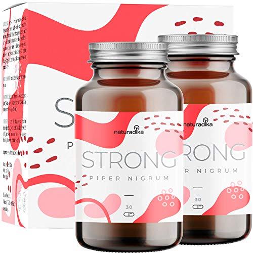 PIPER NIGRUM STRONG per donna e uomo | Raggiungi il tuo obiettivo fitness | Triple azione fit&shape | Con Piperina, Capsimax, Guarana, Colina e Vitamina B3 | 30+30 capsule