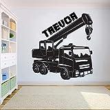 Ajcwhml Pegatina de Pared de camión Personalizada para niños para Dormitorio, camión de Trabajo, Tractor, Excavadora, niños, guardería, niños, Adolescente, habitación 42x48cm