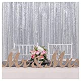 B-COOL Silver Sequin Backdrop 4ftx6.5ft Sequin Photo Booth Photography Backdrop Sparkly Sequin Curtain Backdrop for Halloween Wedding Party Birthday Christmas Prom Other Event Decoration