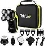 Telfun Head Shavers for Bald Men, 5-in-1 Electric Razor for Men w/h LED Display, IPX7-Waterproof, Faster-Charging Mens Grooming Kit w/h Beard Trimmer, Nose Hair & Hair Clippers, Facial Cleaning Brush