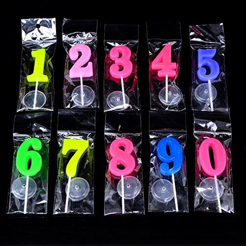 SIMUR Velas de cumpleaños de 0 a 9, velas de números molde