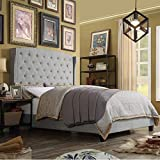 Rosevera Solid wood frame Upholstered button-tufted Panel Wingback Bed, King, Grey