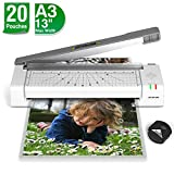 13 inches Laminator Machine, JZBRAIN A3 Thermal Laminating Machine with 20 Laminating Pouches, Paper Cutter and Corner Rounder for Home Office School Use, Laminate up to 13 inches Wide, Gray