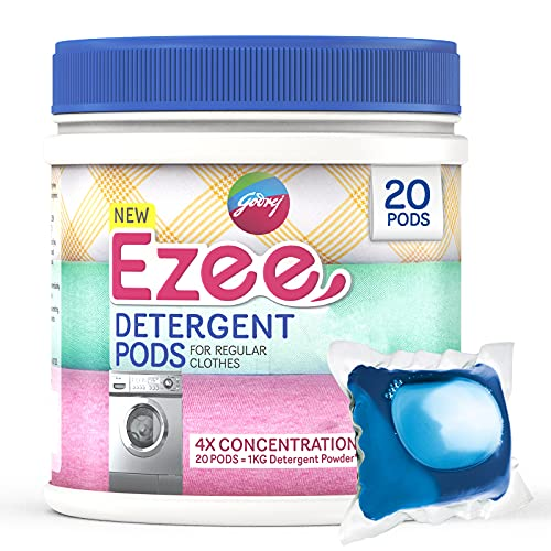 Godrej Ezee Pods, 4X Concentrated Liquid Detergent - 20 Count, for Both Front Load and Top Load Washing Machine