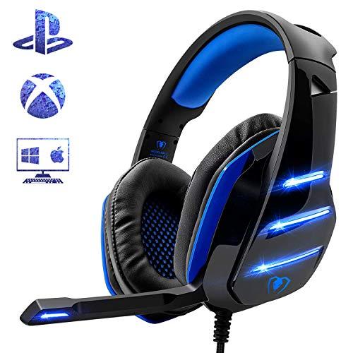 Beexcellent Micro Casque Gaming PS4, Casque PC Ultra-Léger Stéréo Lumière Stéréo Bass Anti-Bruit LED lumière avec 3.5mm Connecteur Compatible Xbox One GameCube Laptop Tablette