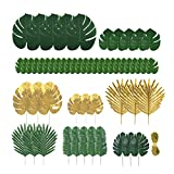 Kinhongg 60 pièces de 9 types de feuilles de palmier artificielles avec tiges,...