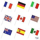 Deanyi 50 Pays International Monde Drapeau de bâton, Hand Held Petite Mini National Drapeaux...