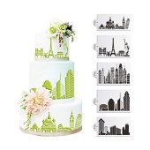 SEPTEMBER-EUROPE 5PCS Architectural Design Cake Decorating Stencil Baking Tools, Fondant Ice Mesh Stencil Mold, Flower Edge Torta Cottura di