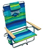 Tommy Bahama 5-Position Classic Lay Flat Folding Backpack Beach Chair - Blue and Green Stripe