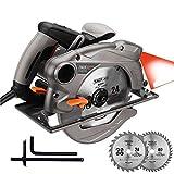 TACKLIFE Scie Circulaire, 1500W, lames de 185mm (24T et 40T), Guide Laser,...