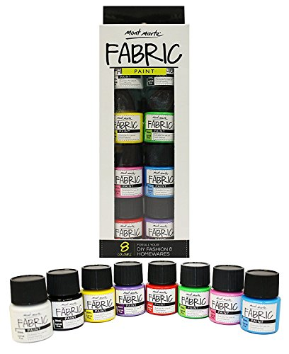 MONT MARTE Set Colori per Tessuti - 8 pezzi x 20ml - Pitture Permanenti Tessili - Colori di Alta...