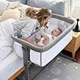 TCBunny 2-in-1 Baby Bassinet & Bedside Sleeper, Adjustable Portable Crib Bed for Infant/Newborn Baby, Grey (Mosquito Net Not Included)