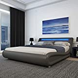 Amolife Upholstered King Size Bed Frame with Adjustable LED Lights Headboard/Deluxe Solid Modern Platform Bed with Slat Support/Low Profile Curved Faux Leather Bed Frame/Mattress Foundation,Grey