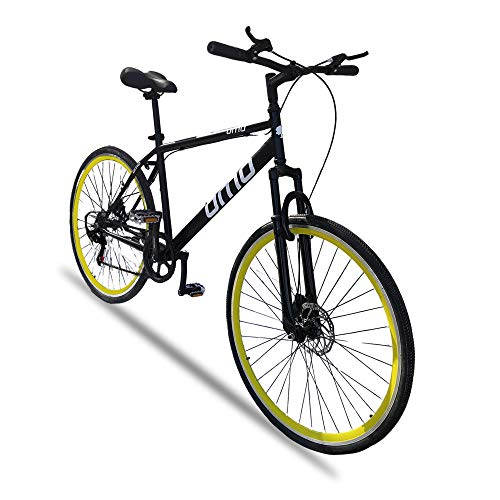 Omobikes Ladakh Unisex Adult's X7 29T - 700c 7 Speed Gear Dual Disc Brakes Front Suspension 18'' Frame Hybrid Bike (Yellow)