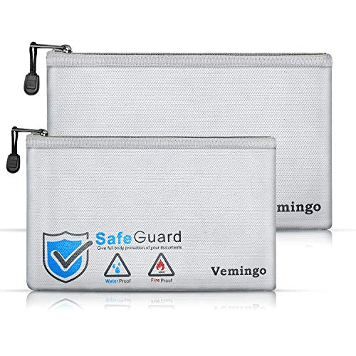 Vemingo Fireproof Bags 2 Packs, 2019 Upgraded Waterproof and Fire-resistant Money Safe Bags with Zipper Fire Safe Storage Pouch for Documents Moneys Cash Coin