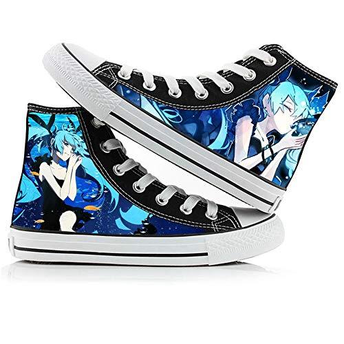 NIEWEI-YI Alpargatas Altas Hatsune Miku Anime Zapatos De Lona Hombres Mujeres Zapatos Casuales Zapatos De Viaje Al Aire Libre,37 EU
