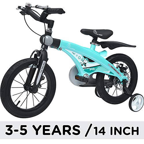 R for Rabbit Tiny Toes Jazz Smart Plug n Play Bicycle for Kids of 3 to 5 Years Boys & Girls Size 14T inches with Magnessium Alloy Adjustible Structure & Disc Brakes (Lake Blue)