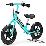 Goplus 12' Kids Balance Bike, No Pedal Bicycle w/Adjustable Bar and Seat, Brake, Bell Ring, Stand,...