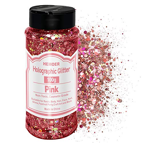 HEMOER 100g Holographic Glitter, Cosmetic Mixed Hexagon Chunky & Fine Craft Glitter Resin Sequins for Epoxy Glass, Resin Art, Body, Hair, Face, Nail, Slime, Tumblers, Festival Party - Pink