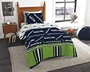 "Features a repeating print of team name and logos on the comforter and pillowcase, on a team-colored background Set comes with 1 comforter, 1 flat sheet, 1 fitted sheet and 1 pillowcase Comforter measures 64""W x 86""L; Flat Sheet measures 66""W x 96""L;..."