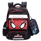 Childrens School Bag - Spiderman Mochila Ligera portátil Llevar el Equipaje de los niños en el Carro de la Maleta por Vacaciones Viajando,Black-M