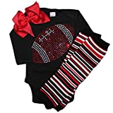 FanGarb Baby Girl's Black & red Football Team Colored Rhinestone Black Outfit 12-18mo