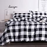 Andency Black White Grey Plaid Comforter Queen (90x90 Inch), 3 Pieces (1 Gingham Comforter and 2 Pillowcases), Soft Microfiber Buffalo Check Down Alternative Comforter Set