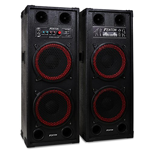 Skytec SPB-210 set coppia casse attive amplificate attiva / passiva (1200 Watt, 2 x subwoofer da 25 CM, USB SD MP3, bass reflex, 2 x MIC IN)