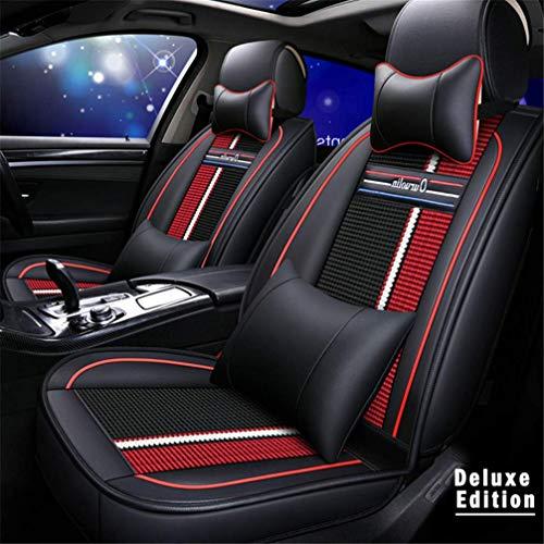 WANLING Coprisedili Auto Sedili Anteriori Posteriori CopriSedile & Copri poggiatesta & Copri spalliera per Jaguar XJ XE XF Copri Sedili in Pelle Foderine Auto Filo Rosso