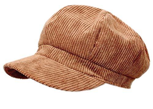 dy_mode Schirmmütze Damen Cord Kappe Ballonmütze Barett Cap - BM110 (BM111-Kupferbraun)