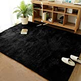 Merelax Modern Soft Fluffy Large Shaggy Rug for Bedroom Livingroom Dorm Kids Room Indoor Home Decorative, Non-Slip Plush Furry Fur Area Rugs Comfy Nursery Accent Floor Carpet 4'x5.9' Black