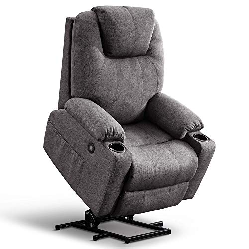 Mcombo Large Power Lift Recliner Chair with Massage and Heat for Elderly Big and Tall People, 3 Positions, 2 Side Pockets and Cup Holders, USB Ports, Fabric 7517 (Large, Gray)