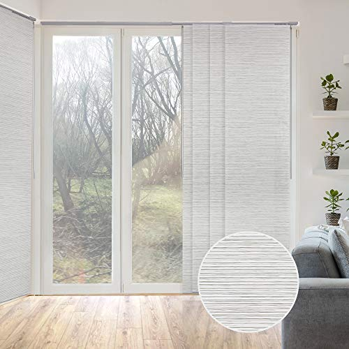 GoDear Design Deluxe Adjustable Sliding Panel Track Blind 45.8'- 86' W x 96' H, Extendable 4-Rail Track, Trimmable Natural Woven Fabric, Marble