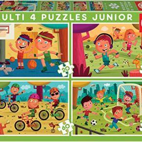 Educa - Multi 4 Puzzles Junior, puzzle infantil Deportes de 20,40,60 y 80 piezas, a partir de 5 años (18602)