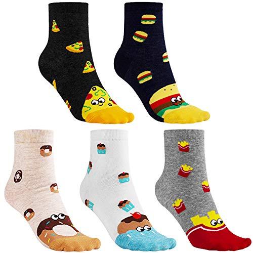 CNNIK 5 paia di calzini universali da donna, torta per pizza, patatine fritte, ciambelle, hamburger, simpatici calzini di cotone divertenti per bambini, donne, donne