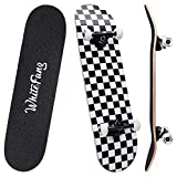 WhiteFang Skateboards 31 Inch Complete Skateboard Double Kick Skate Board 7 Layer Canadian Maple...