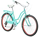 Schwinn Perla Women's Cruiser Bicycle, Featuring 18-Inch Step-Through Steel Frame and 7-Speed Drivetrain with Front and Rear Fenders, Rear Rack, and 26-Inch Wheels, Blue