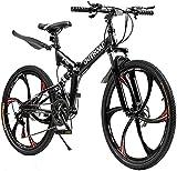 Outroad Folding Mountain Bike 6 Spoke 21 Speed 26 inch Wheel Double Disc Brake Full Suspension Anti-Slip, Black