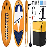 Hemousy Stand Up Paddle Board,10.5'×33'×6' Inflatable Paddle Boards 286Lb Load Wide Stand SUP Non-Slip Deck Board with Leash, Paddle,Pump,3×Fins Stand Boat Paddle Board Accessories