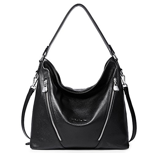 """High Quality -- The shoulder hobo bag is made of genuine cow leather by professional artisans. Durable fabric lining with custom silver hardware that make the handbag more luxury, generous and elegant. Dimensions -- (L)12.9"""" x (W)4.3"""" x (H)12.6"""", handle drop is 11 inch, enough on your shoulder, with an adjustable 23"""" - 29"""" shoulder strap. Net weight is 1.91 lb / 0.87 kg. Structure -- Inner structure is a main zipper pocket was separated into 2 compartments by a zipper pocket, And 2 slip pockets, 1 inner zipper pocket. Exterior structure including 1 back zipper pocket. The front 2 zipper pockets are just for design and can only hold small items such as key, cards ect."""