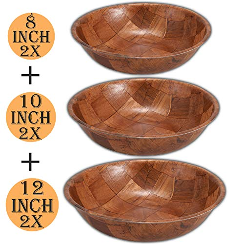 Wooden Salad Bowl Set of 6 Includes - 8, 10 and 12 Inch Wooden Bowls 2 of Each Size. Great for Fruit, Food, Salads and Serving Bowls.